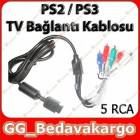 Playstation 2 PS2 TV  Ba�lant� Kablosu 5 RCA
