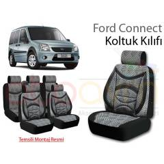 Ford Connect Koltuk K�l�f� Seti Ortopedik Gri-Si