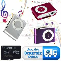 Mini MP3 Player + 2GB Micro SD Haf�za Kart�