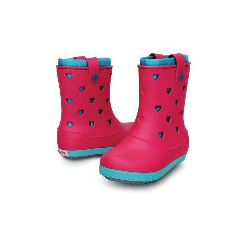 Crocband Airy Hearts Boot PS Bot Raspberry-Turqu