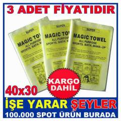 3 ADET S�H�RL� TEM�ZL�K BEZ� MAGIC TOWEL KD