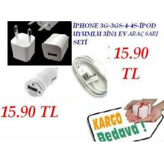 iPHONE 4S �ARJ SETi USB KABLO EV & ARA� 3 L� SET