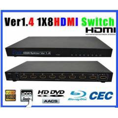 HDMI �oklay�c� 8 Port 1080P HDMI  Splitter 3D HD