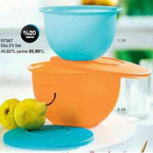 TUPPERWARE eko kaplar 2'li set
