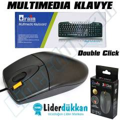 Bilgisayar Multimedya Klavyesi + USB Mouse Set