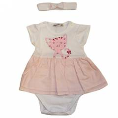 �dil Baby 5441 K�z Bebek Body ve Sa� Band� Pembe