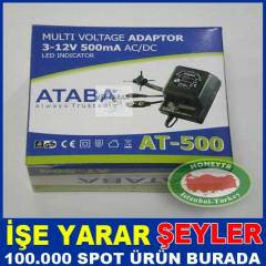 ATABA AT-500 500mA 12W, 0-12V Ayarl� Adapt�r