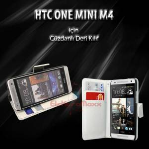 HTC One Mini C�zdan C�zdanl� Deri K�l�f +3X Film