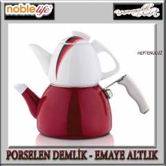 NOBLE L�FE PORSELEN - EMAYE �AYDANLIK SET RED