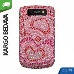 BlackBerry Torch 9800 Ta�l� K�l�f Pembe Kalpler