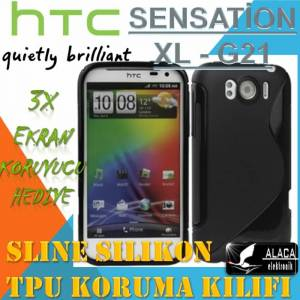 HTC SENSAT�ON XL KILIF S�L�KON TPU CASE 3x F�LM