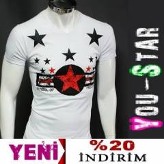 BOOMYOU Fashion V Yaka T-shirt-S-M-L-XL-(Y765)