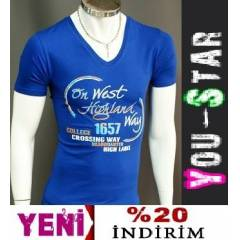 BOOMYOU Fashion V Yaka T-shirt-S-M-L-XL-(H54Q)
