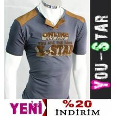 BOOMYOU Fashion V Yaka T-shirt-S-M-L-XL-(LO99)