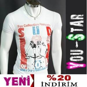 BOOMYOU Fashion V Yaka T-shirt-S-M-L-XL-(KU77)