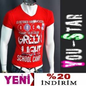 BOOMYOU Fashion V Yaka T-shirt-S-M-L-XL-(J90L)