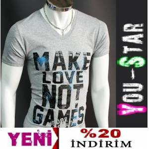 Youstar Fashion V Yaka T-shirt-S-M-L-XL-(TR44)