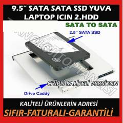 9.5'' �N� NOTEBOOK DVD TO SSD KUTU YUVA SATA
