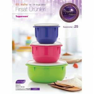 TUPPERWARE M�KS�M KULE 3LU SET 3 LT 2 LT VE 1 LT