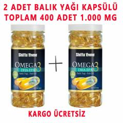 2 ADET OMEGA 3 BALIK HAPI 200 SOFTGEL 1000 MG