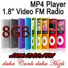8 GB 1,8'' EKRAN MP3 MP4 M�Z�K PLAYER FM E K�TAP