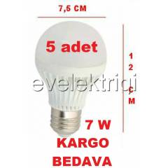 7 WATT LED AMPUL - G�NI�I�I - 700 L�MEN - 5 ADET