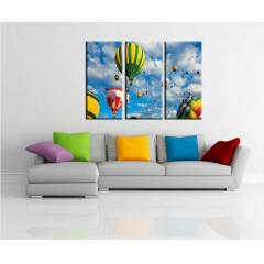 3 PAR�ALI KANVAS TABLO 99X70cm U�AN BALON