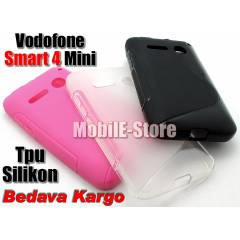 Vodafone Smart 4 Mini Silikon TPU K�l�f+2Sticker