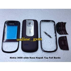 Nokia 3600 slide Kasa Kapak Tu� Full -Bordo-