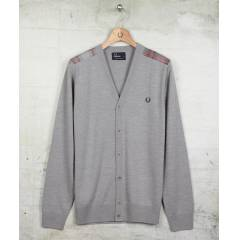 Fred Perry NeedlePunch Cardigan Erkek Gri H�rka