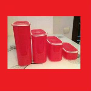 TUPPERWARE OVAL KIRMIZI SU SET