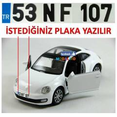 BEYAZ NEW BEETLE MAKET ARABA + K���YE �ZEL PLAKA