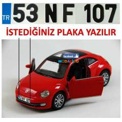 KIRMIZI NEW BEETLE MAKET ARABA K���YE �ZEL PLAKA