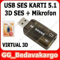 5.1 USB Ses Kart� Virtual Sound 3D Win 7 Win8
