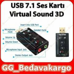 7.1 USB Ses Kart� Virtual Sound 3D - Win 7 Win 8