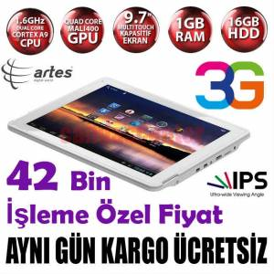 "ARTES D9702 3G 9.7"" 1GB RAM IPS2 BT 16 GB TABLET"