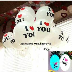 I�IKLI VE I LOVE YOU BASKILI BEYAZ BALON 10 ADET