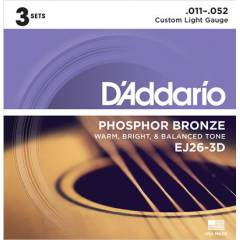 D'Addario EJ26-3D 3-Pack Custom Light