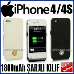 iPhone 4 4S �ARJLI KILIF KAPAK 1800 mAh +2 Film