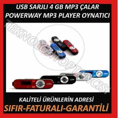 POWERWAY MP3 PLAYER USB �ARJLI 4 GB HAFIZA+FM