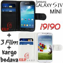Galaxy S4 Mini i8190 Magnetic C�zdan K�l�f+3Film