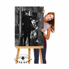 60X90 KANVAS DUVAR TABLO CHARLIE CHAPLIN! CANVAS