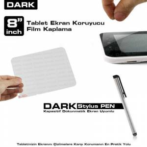 "Dark 8"" Tablet PC'ler Ekran Koruyucu + Kalem"