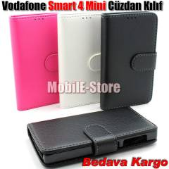 Vodafone Smart 4 Mini Kapakl� C�zdan K�l�f+2Film