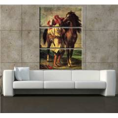 3 PAR�ALI KANVAS TABLO 70x99 cm AT SAH�B� TEKNE