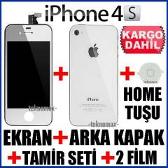 iPHONE 4S LCD EKRAN +ArkaKapak +HomeTu�u +2Film