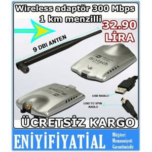 Wireless adapt�r 1 km menzilli 300 Mbps �ekim