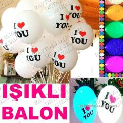 5 ADET I�IKLI BALON I LOVE YOU BASKILI SEVG�L�YE