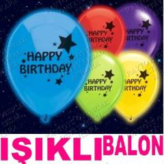 10 I�IKLI BALON HAPPY BIRTHDAY RENKL� BASKILI