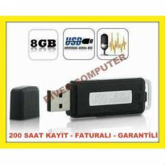 SES KAYIT C�HAZI USB FLASH BELLEK 8GB 240 SAAT K